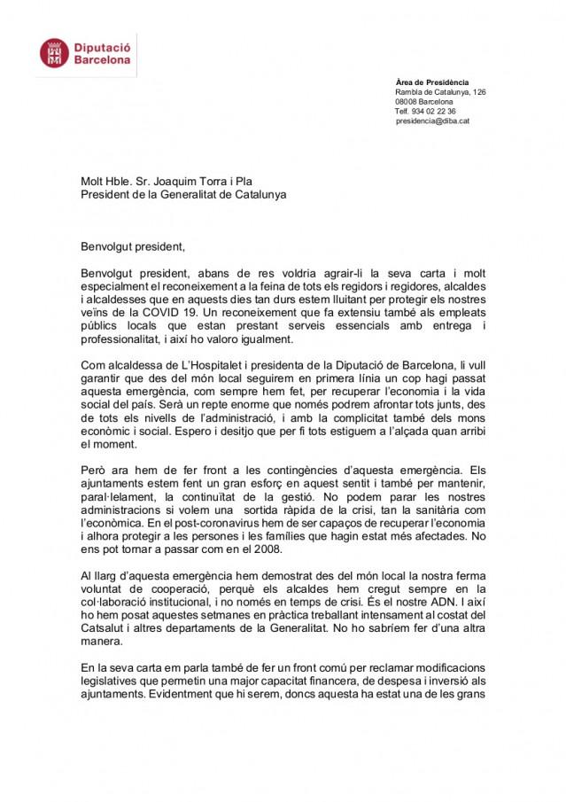 Carta (primera página) de la presidenta de la Diputación de Barcelona, Núria Marín, al presidente de la Generalitat, Quim Torra, sobre el coronavirus, el 5 de abril de 2020