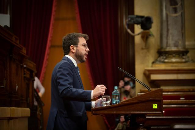 El vicepresidente de la Generalitat, Pere Aragonès, en la diputación permanente del Parlament