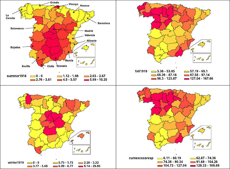 Chowell2014 1918 influenza excess mortality in Spain map
